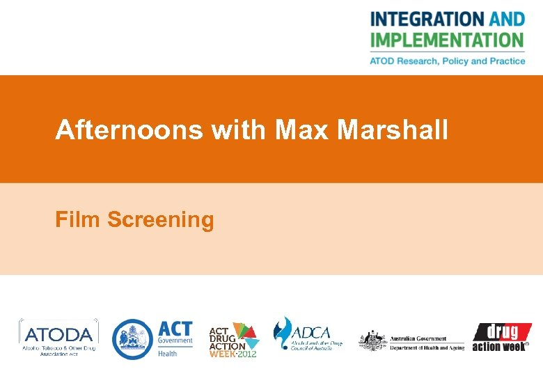 Afternoons with Max Marshall Film Screening