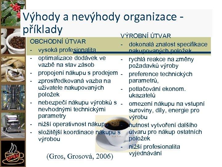 Výhody a nevýhody organizace příklady VÝROBNÍ ÚTVAR OBCHODNÍ ÚTVAR - vysoká profesionalita - optimalizace
