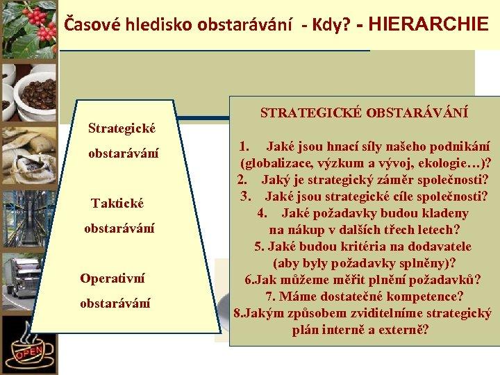 Časové hledisko obstarávání - Kdy? - HIERARCHIE Strategické obstarávání Taktické obstarávání Operativní obstarávání STRATEGICKÉ