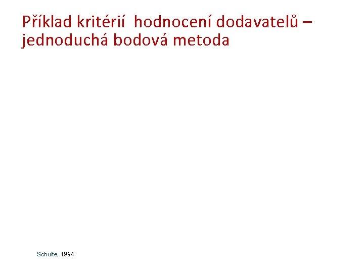 Příklad kritérií hodnocení dodavatelů – jednoduchá bodová metoda Schulte, 1994