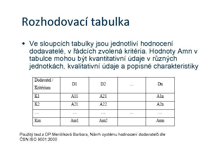 Rozhodovací tabulka w Ve sloupcích tabulky jsou jednotliví hodnocení dodavatelé, v řádcích zvolená kritéria.