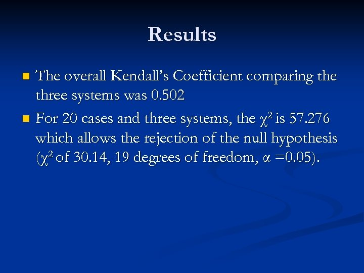 Results The overall Kendall's Coefficient comparing the three systems was 0. 502 n For