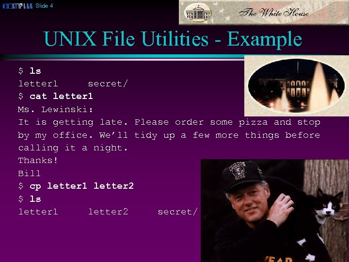 Slide 4 UNIX File Utilities - Example $ ls letter 1 secret/ $ cat