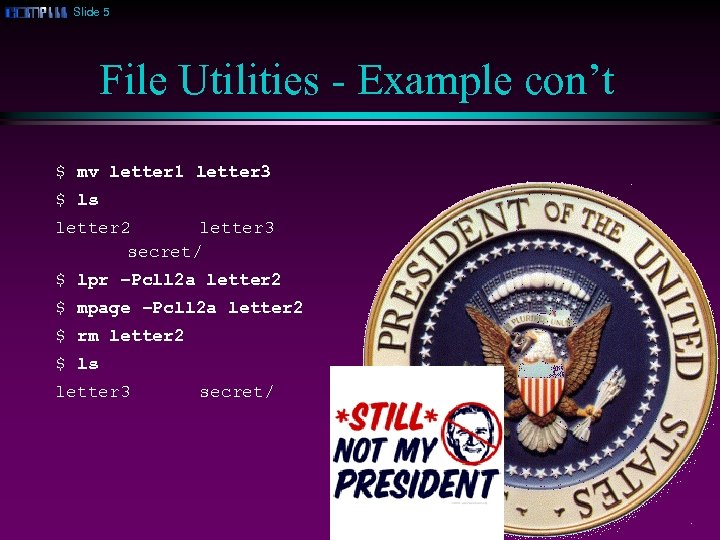 Slide 5 File Utilities - Example con't $ mv letter 1 letter 3 $