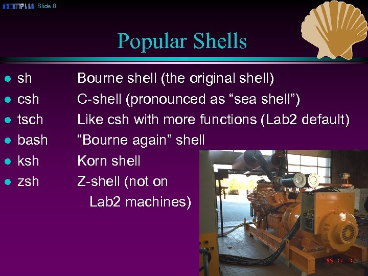 Slide 8 Popular Shells l l l sh csh tsch bash ksh zsh Bourne