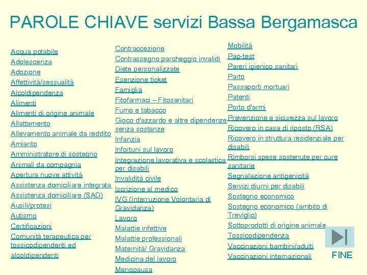PAROLE CHIAVE servizi Bassa Bergamasca Acqua potabile Adolescenza Adozione Affettività/sessualità Alcoldipendenza Alimenti di origine