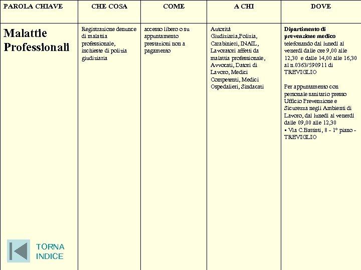 PAROLA CHIAVE Malattie Professionali TORNA INDICE CHE COSA Registrazione denunce di malattia professionale, inchieste