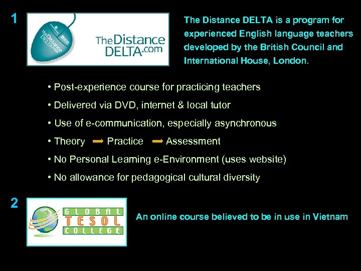 1 The Distance DELTA is a program for experienced English language teachers developed by