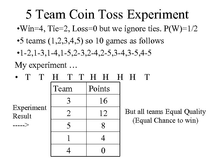 5 Team Coin Toss Experiment • Win=4, Tie=2, Loss=0 but we ignore ties. P(W)=1/2
