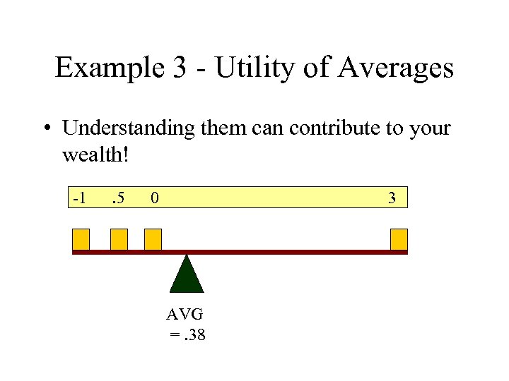 Example 3 - Utility of Averages • Understanding them can contribute to your wealth!