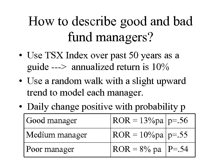 How to describe good and bad fund managers? • Use TSX Index over past