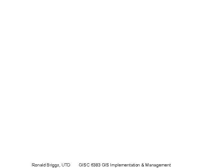 Ronald Briggs, UTD GISC 6383 GIS Implementation & Management