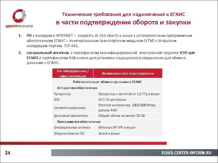 Технические требования для подключения к ЕГАИС в части подтверждения оборота и закупки 1. ПК