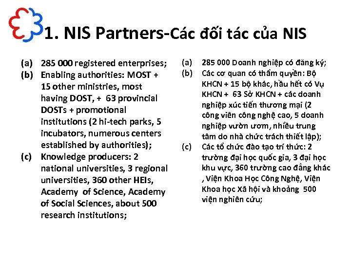1. NIS Partners-Các đối tác của NIS (a) 285 000 registered enterprises; (b) Enabling