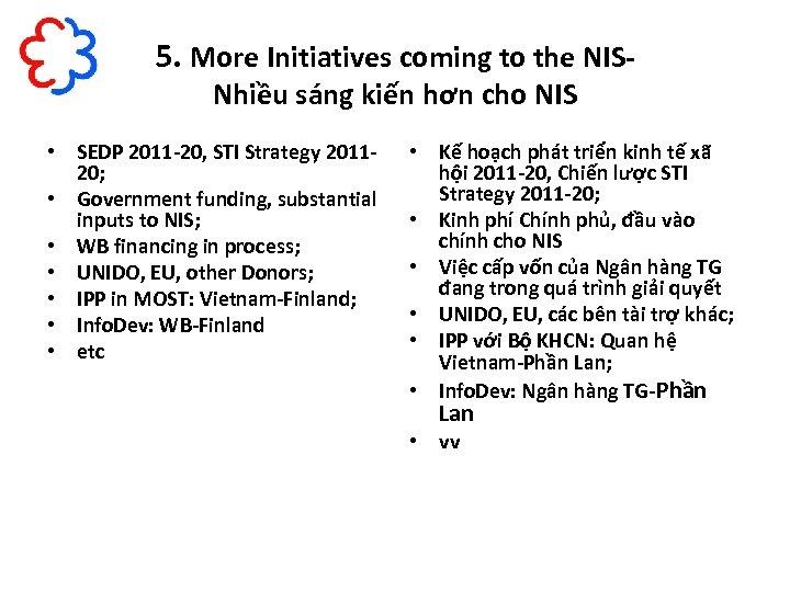 5. More Initiatives coming to the NISNhiều sáng kiến hơn cho NIS • SEDP