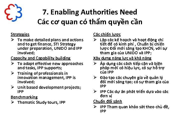 7. Enabling Authorities Need Các cơ quan có thẩm quyền cần Strategies Ø To