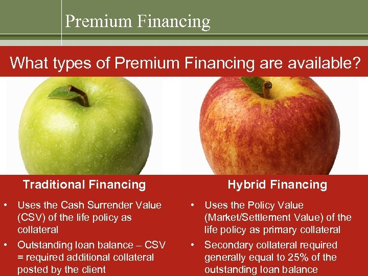 Premium Financing What types of Premium Financing are available? Traditional Financing • Uses the