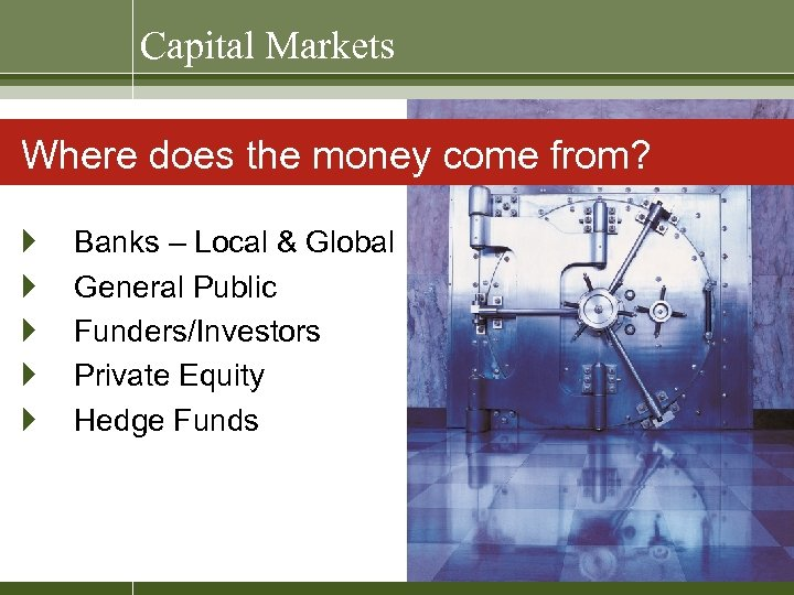 Capital Markets Where does the money come from? } } } Banks – Local