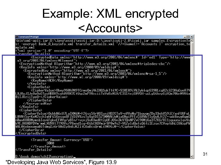 "Example: XML encrypted <Accounts> 31 ""Developing Java Web Services"", Figure 13. 9"