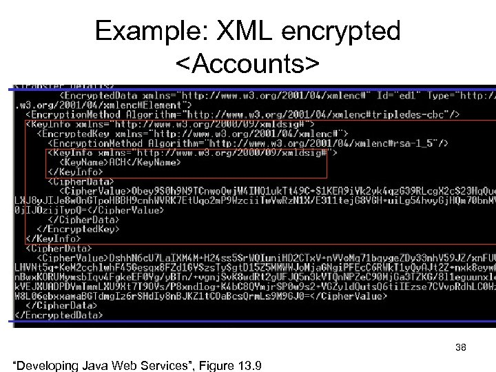 "Example: XML encrypted <Accounts> 38 ""Developing Java Web Services"", Figure 13. 9"