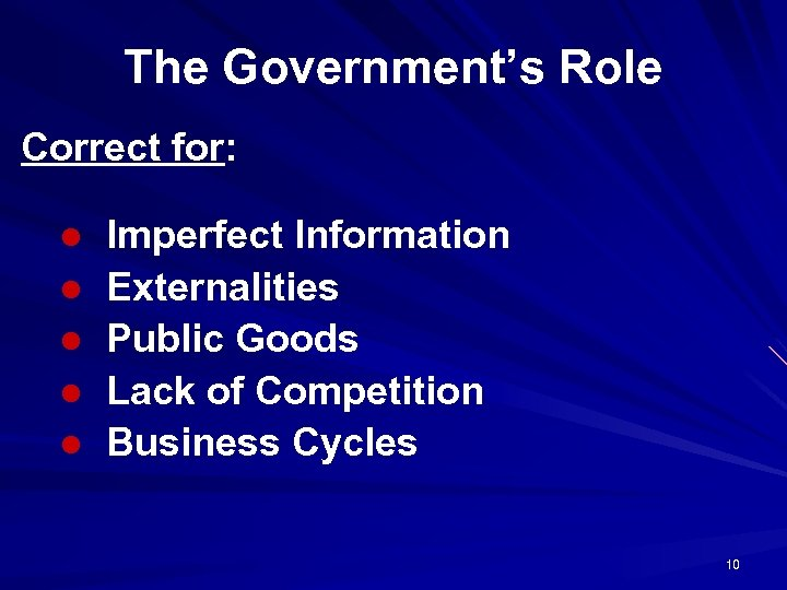 The Government's Role Correct for: l l l Imperfect Information Externalities Public Goods Lack