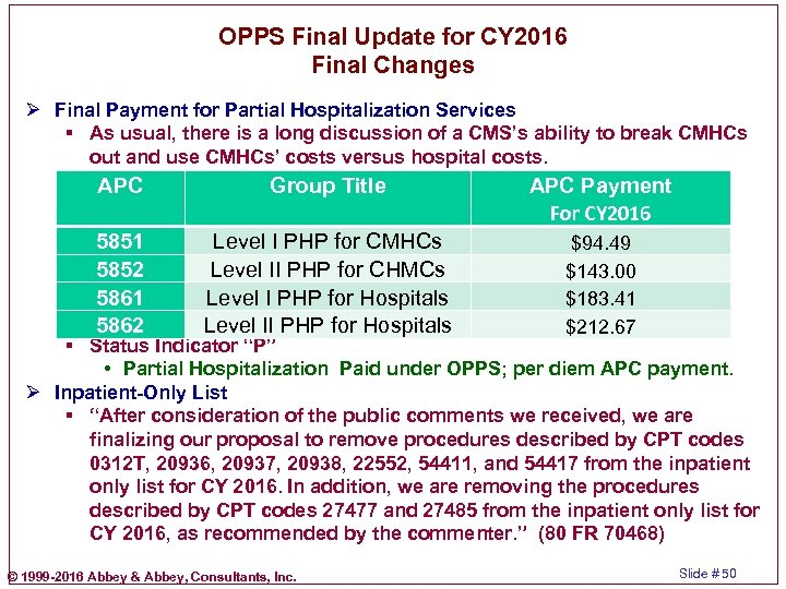 OPPS Final Update for CY 2016 Final Changes Ø Final Payment for Partial Hospitalization