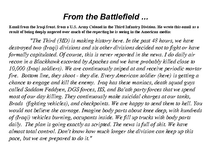 From the Battlefield. . . Email from the Iraqi front. from a U. S.