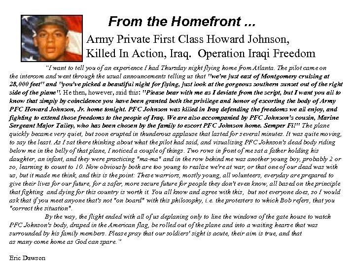 From the Homefront. . . Army Private First Class Howard Johnson, Killed In Action,