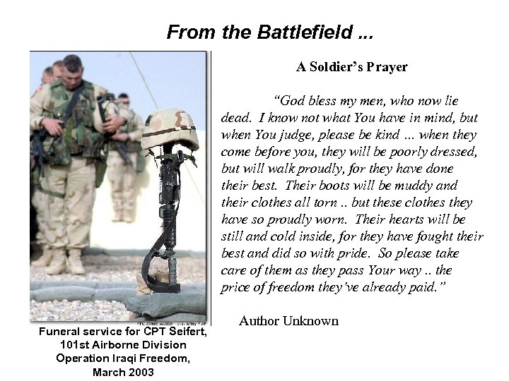 "From the Battlefield. . . A Soldier's Prayer ""God bless my men, who now"