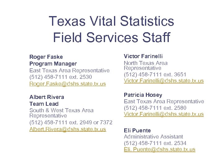 Texas Vital Statistics Field Services Staff Roger Faske Program Manager East Texas Area Representative