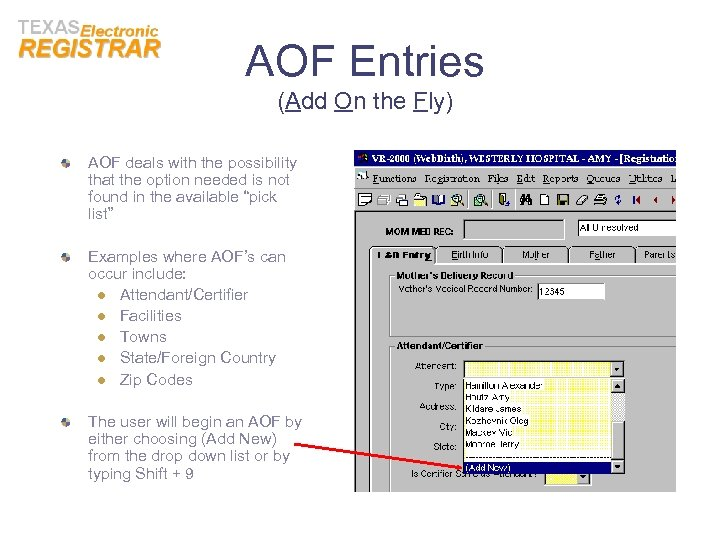 AOF Entries (Add On the Fly) AOF deals with the possibility that the option