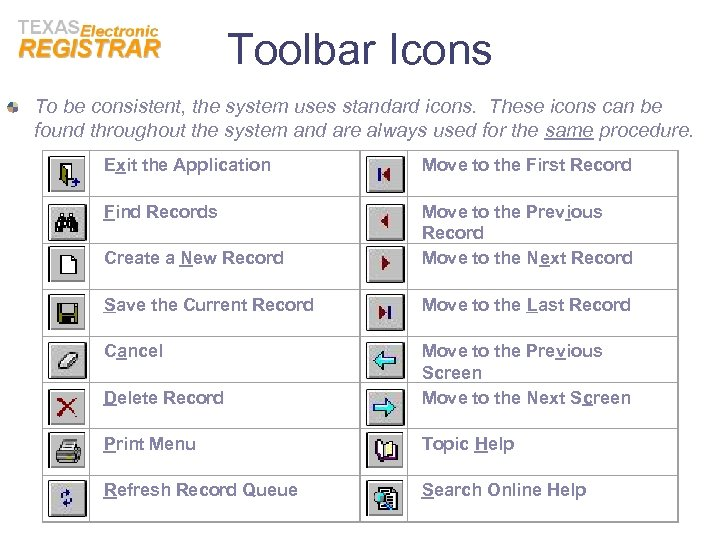 Toolbar Icons To be consistent, the system uses standard icons. These icons can be