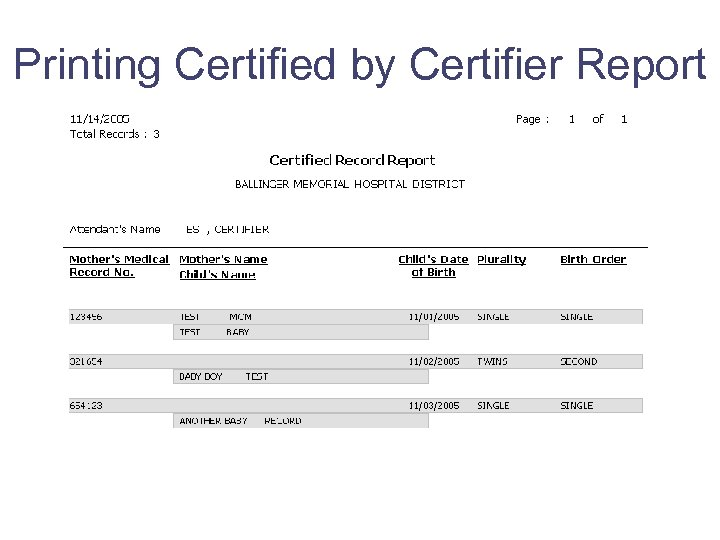 Printing Certified by Certifier Report