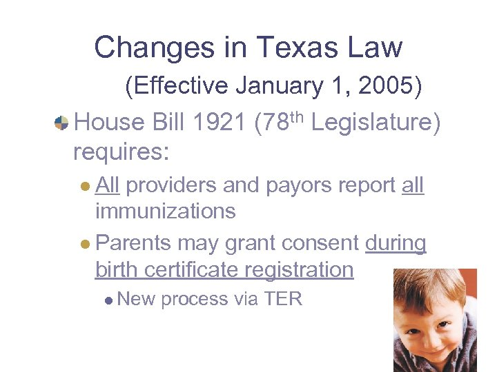 Changes in Texas Law (Effective January 1, 2005) House Bill 1921 (78 th Legislature)