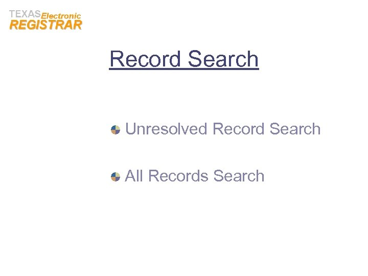 Record Search Unresolved Record Search All Records Search