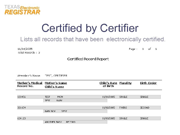 Certified by Certifier Lists all records that have been electronically certified.