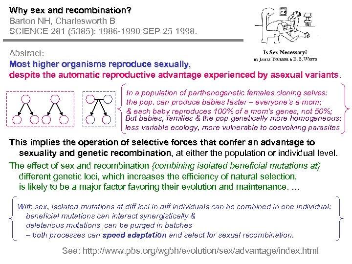 Why sex and recombination? Barton NH, Charlesworth B SCIENCE 281 (5385): 1986 -1990 SEP