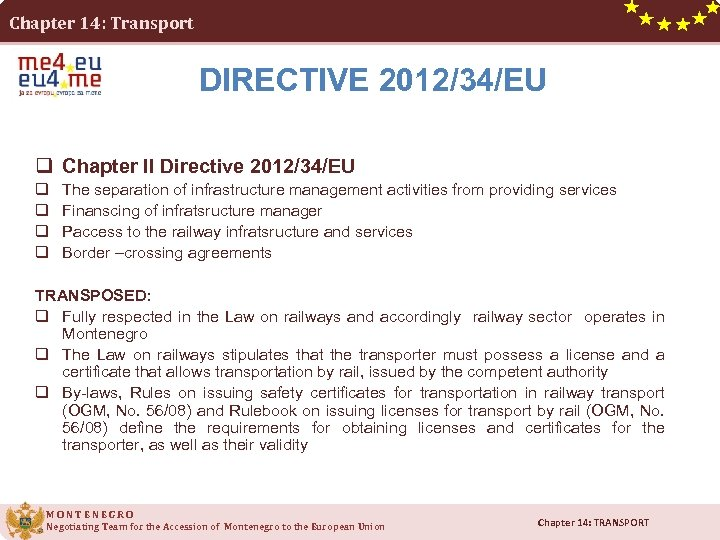 Chapter 14: Transport DIRECTIVE 2012/34/EU q Chapter II Directive 2012/34/EU q q The separation