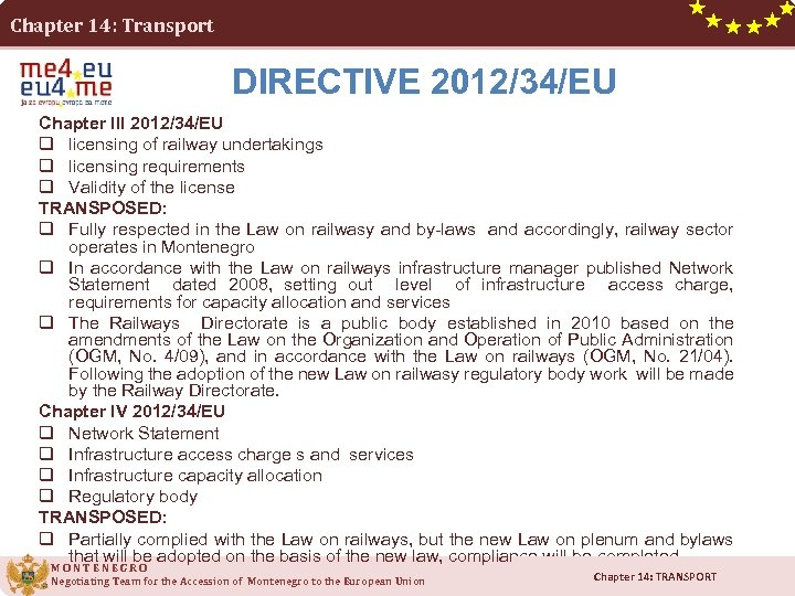 Chapter 14: Transport DIRECTIVE 2012/34/EU Chapter III 2012/34/EU q licensing of railway undertakings q