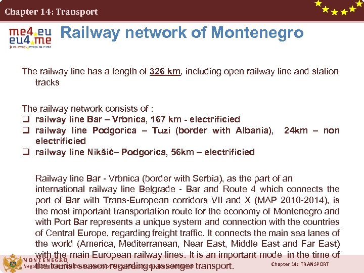 Chapter 14: Transport Railway network of Montenegro The railway line has a length of