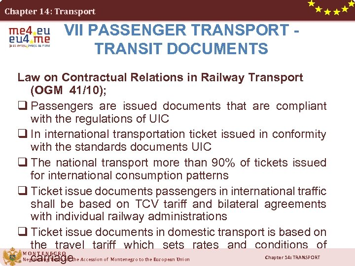 Chapter 14: Transport VII PASSENGER TRANSPORT - TRANSIT DOCUMENTS Law on Contractual Relations in