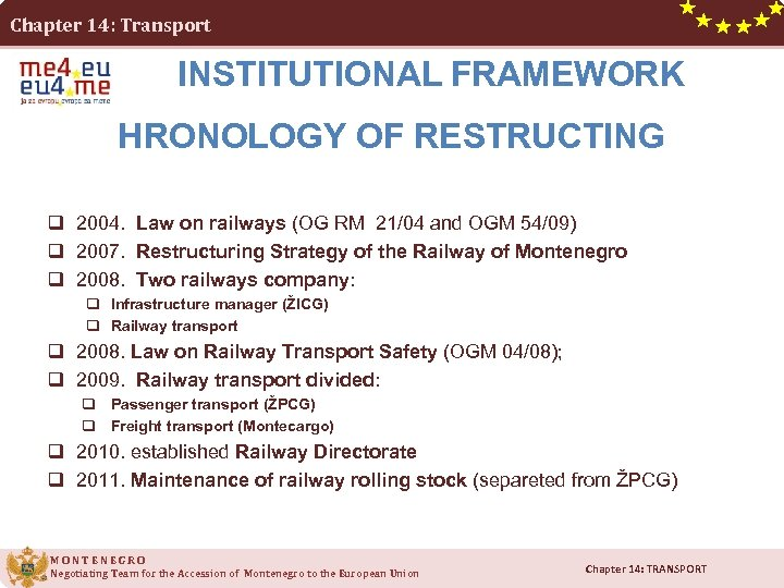 Chapter 14: Transport INSTITUTIONAL FRAMEWORK HRONOLOGY OF RESTRUCTING q 2004. Law on railways (OG