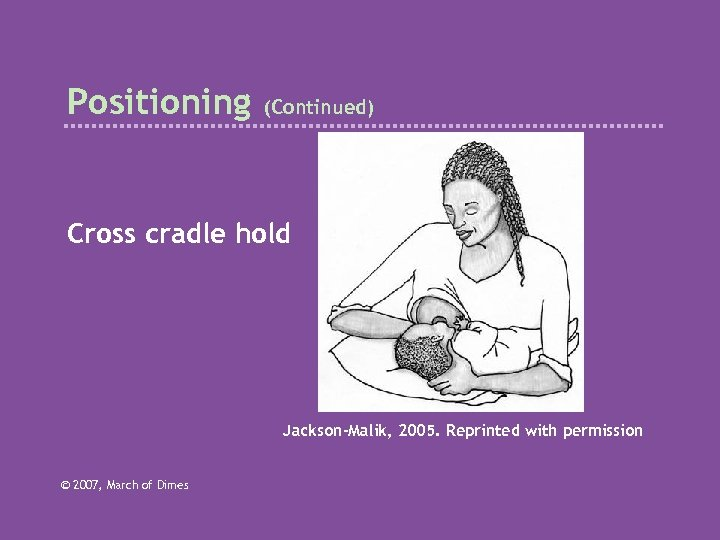 Positioning (Continued) Cross cradle hold Jackson-Malik, 2005. Reprinted with permission © 2007, March of