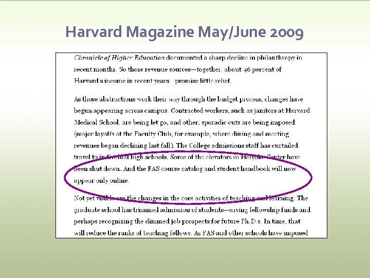 Harvard Magazine May/June 2009