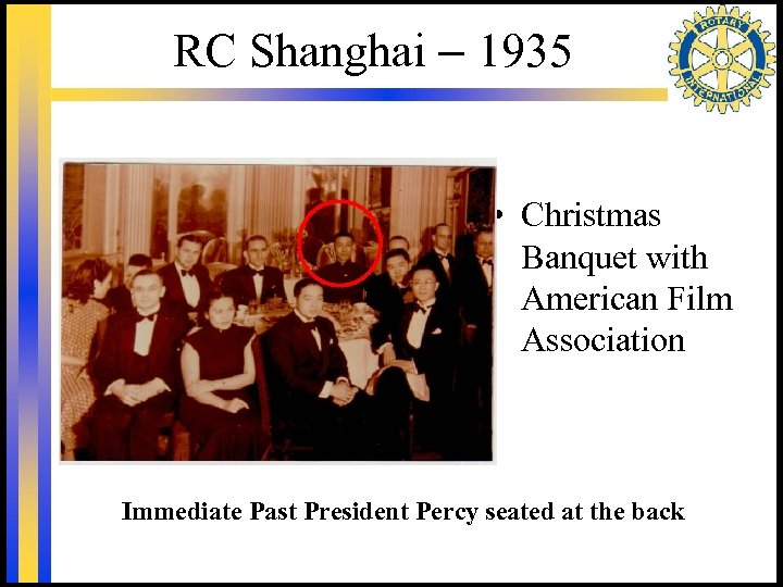 RC Shanghai – 1935 • Christmas Banquet with American Film Association Immediate Past President