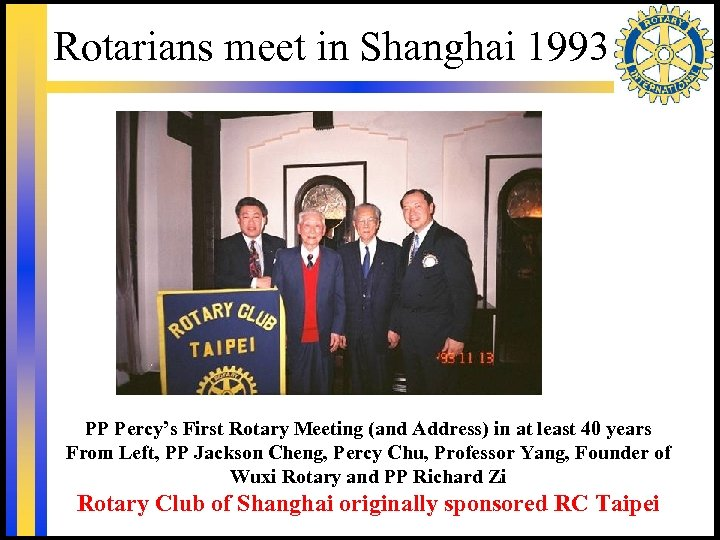 Rotarians meet in Shanghai 1993 PP Percy's First Rotary Meeting (and Address) in at