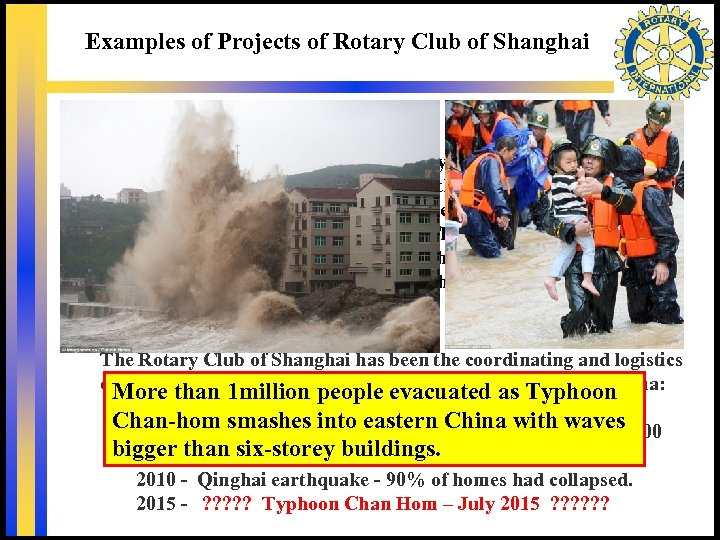 Examples of Projects of Rotary Club of Shanghai Youth Study Awards – Percy Chu