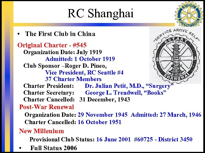 RC Shanghai • The First Club in China Original Charter - #545 Organization Date: