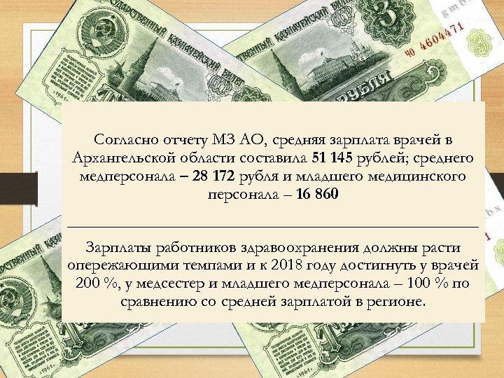 Согласно отчету МЗ АО, средняя зарплата врачей в Архангельской области составила 51 145 рублей;