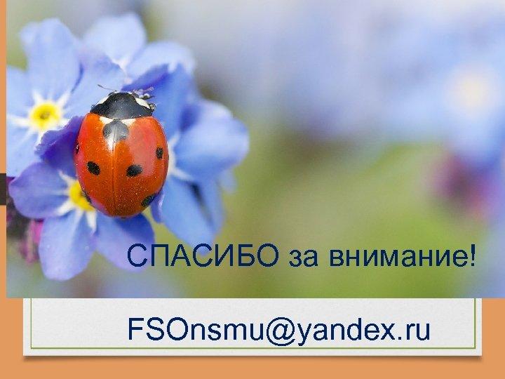 СПАСИБО за внимание! FSOnsmu@yandex. ru